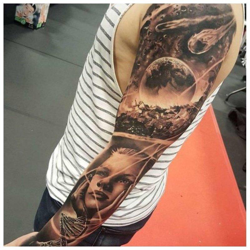 Яркий сюжет - тату на руку парню
