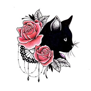 """Цветной эскиз """"Кот с розами"""""""