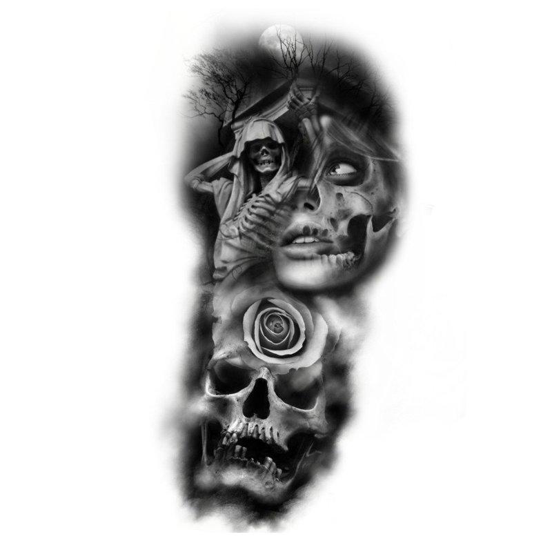 Тату-3Д девушки с черепом
