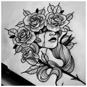 Мистическая девушка - эскиз для тату