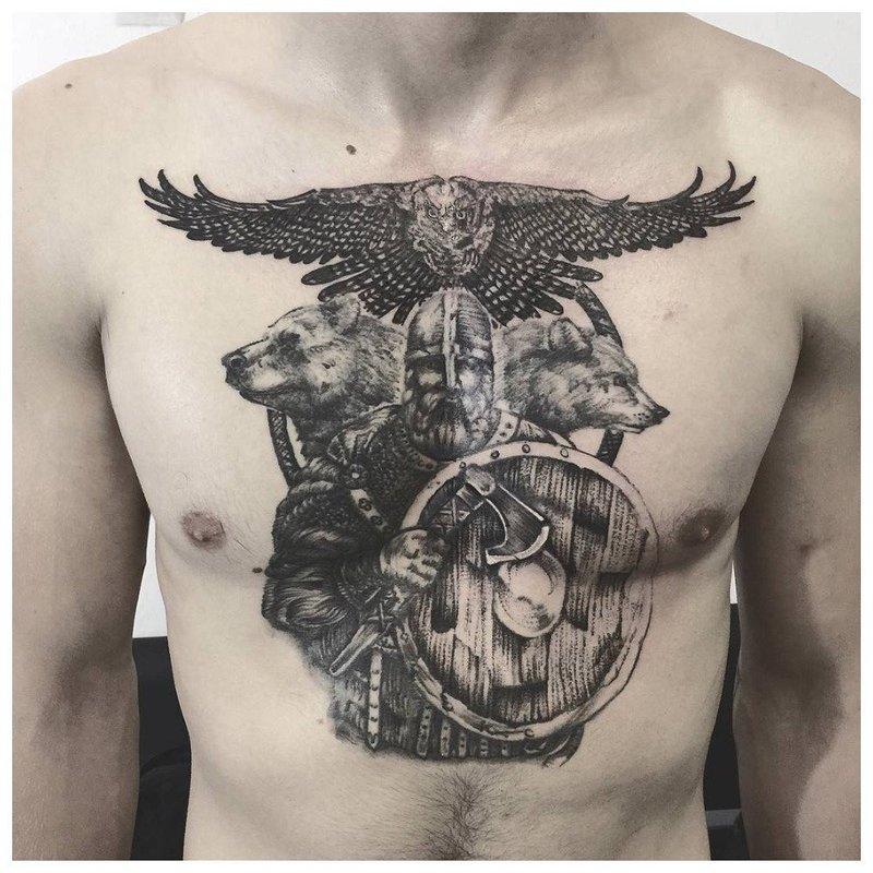 Анималистика и язычество - тату мужчине на грудь