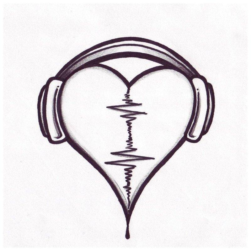 Сердце и наушники - эскиз для тату девушке