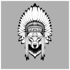 Оригинальный волк - эскиз для тату
