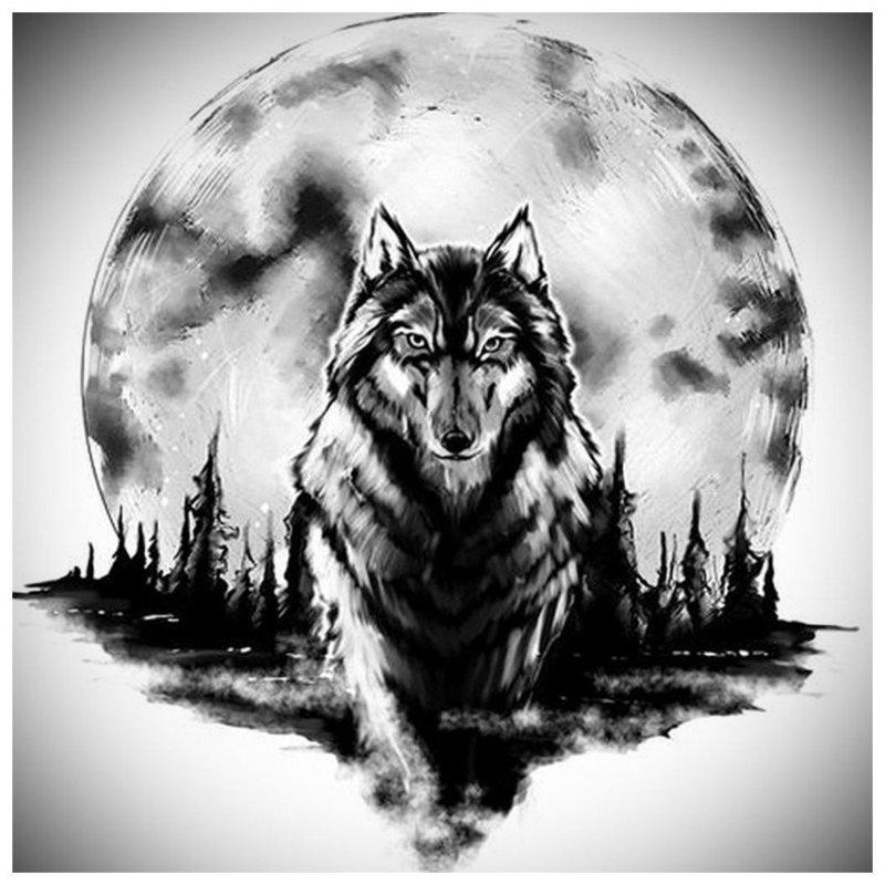 Красивый волк шагает - эскиз для тату