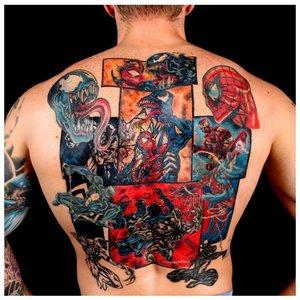 Цветная татуировка на всю спину