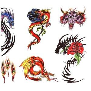 Эскизы маленьких цветных тату с драконами
