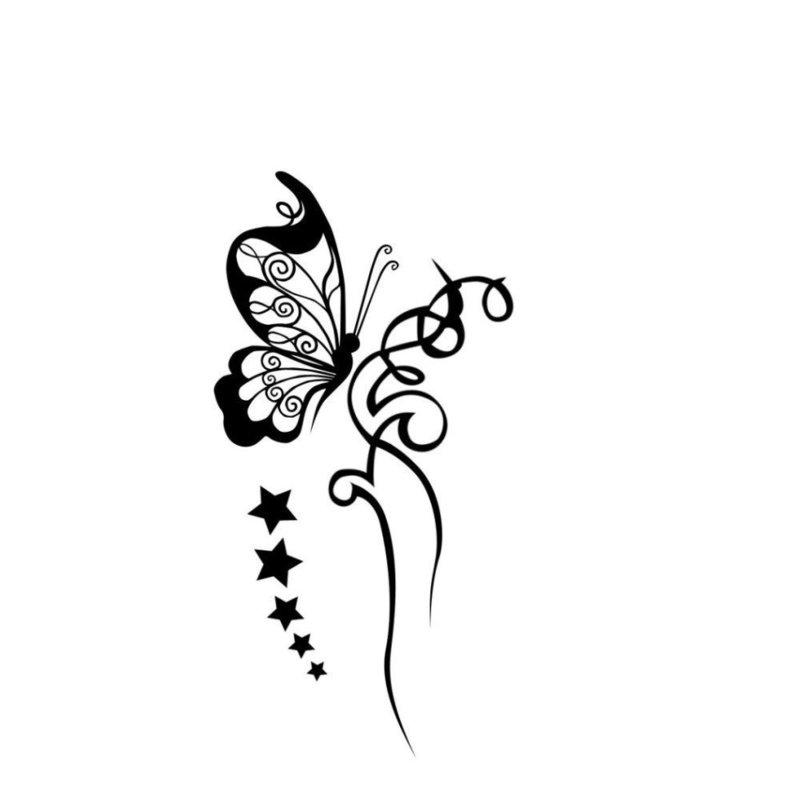 Силуэт бабочки - эскиз для тату