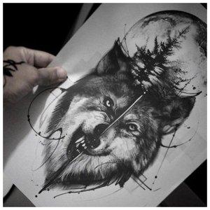 Эскиз волка для тату