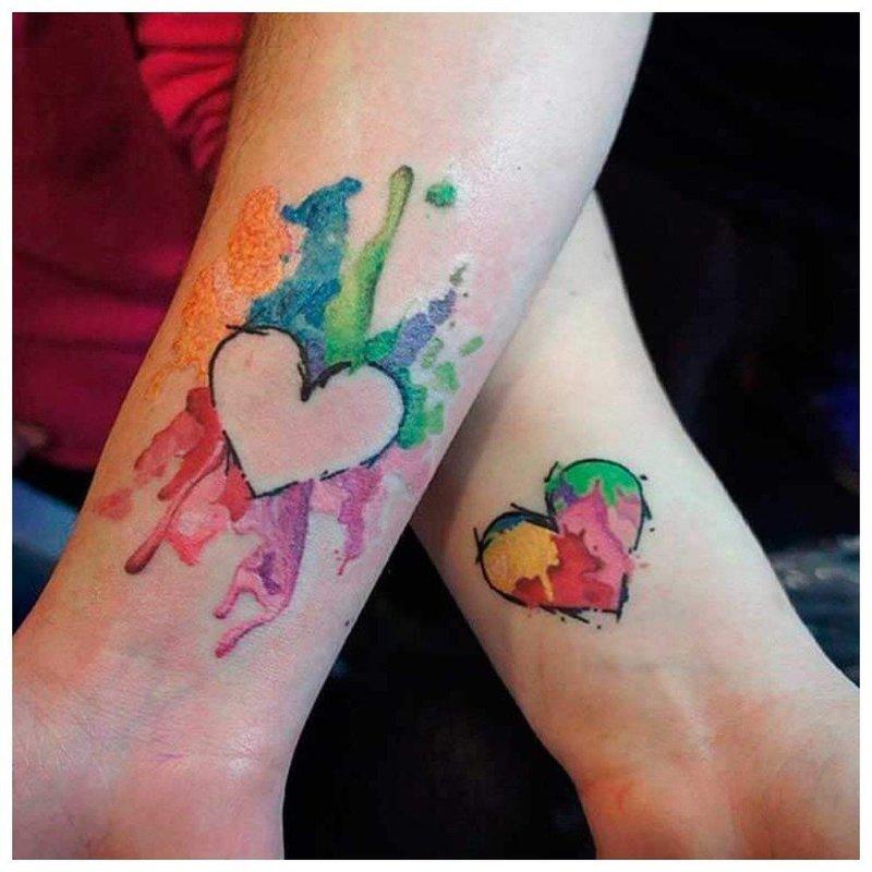 Цветное парное тату