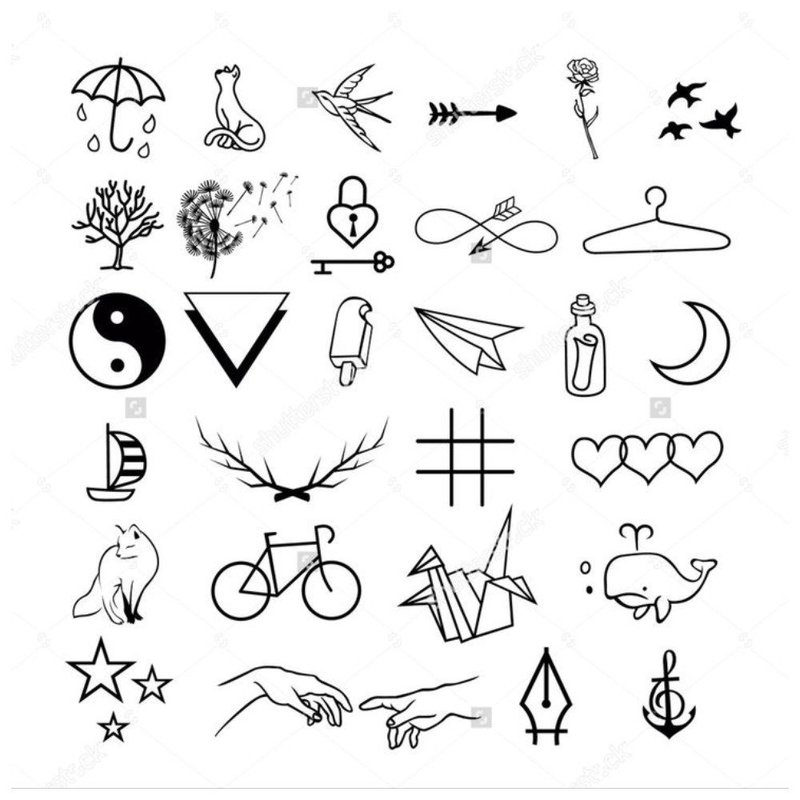 Эскиз символов для тату