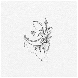 Эскиз тату луны с растением