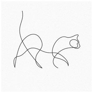Эскиз тату контур кота