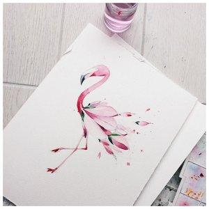 Эскиз фламинго для акварельной татуировки