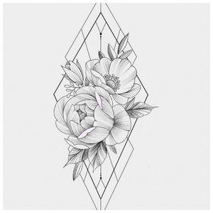 """Крупный эскиз """"Цветы"""" с треугольниками"""