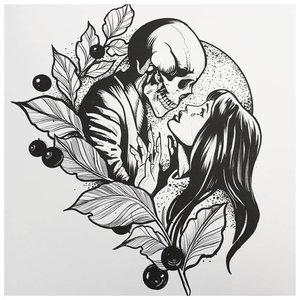 Черно-белый эскиз девушки с черепом