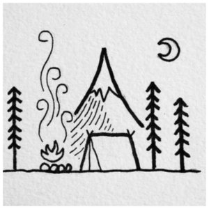 Домик в лесу - эскиз для тату