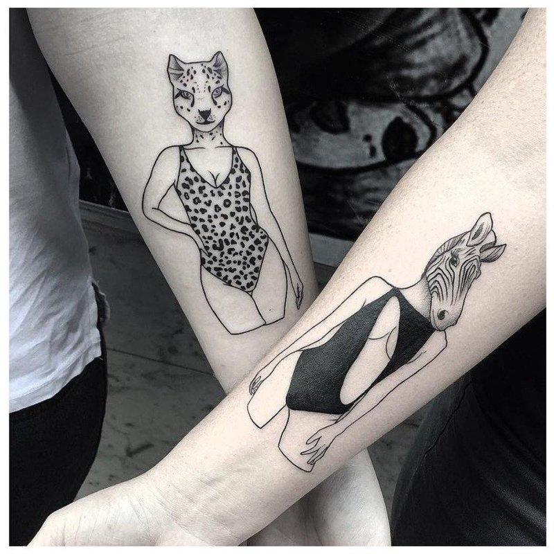 Анималистическое тату для влюбленных