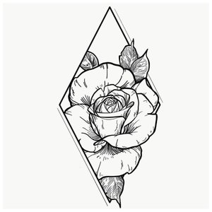 Эскиз тату розы в ромбе