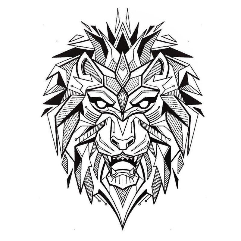 Эскиз тату со львом