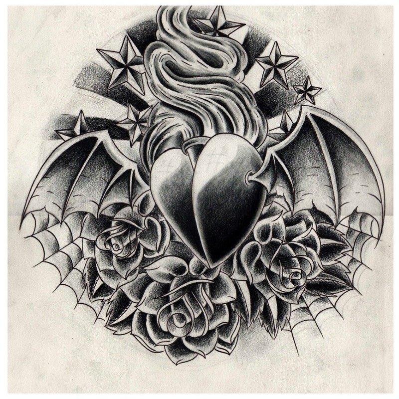 Черное сердце татуировка