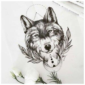 Улыбающийся волк - эскиз для тату