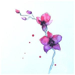 Эскиз цветов сакуры для акварельной татуировки