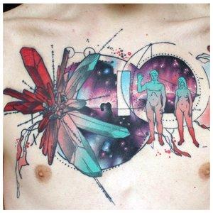 Необычная акварельная тату