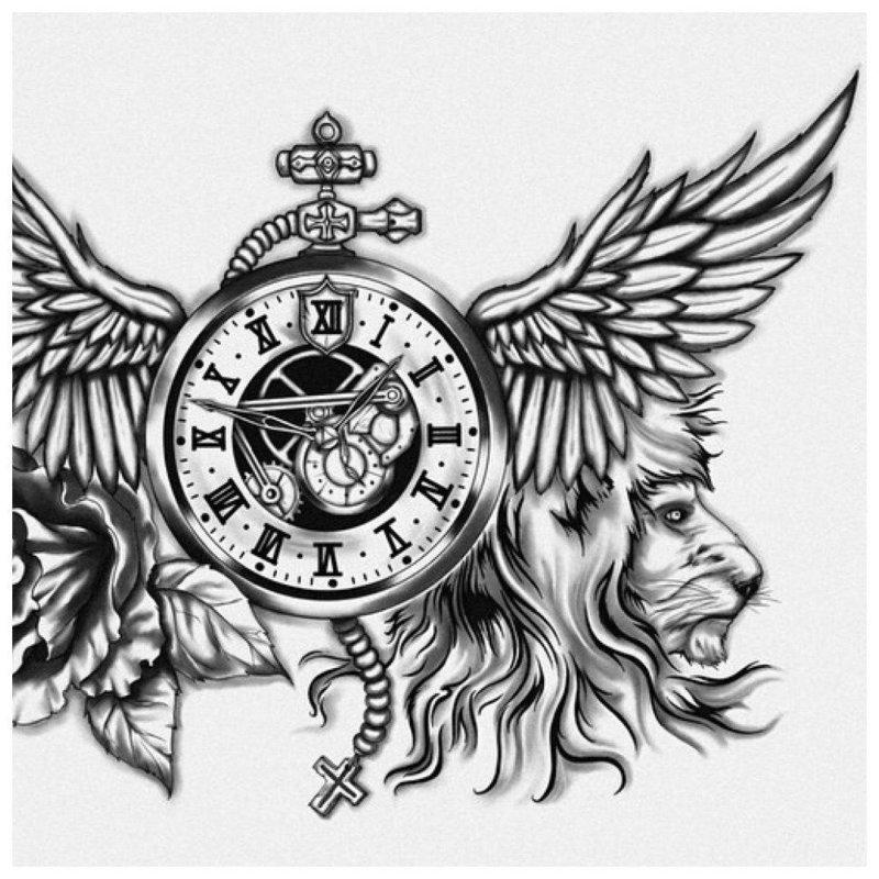 Эскиз тату со львом и часами