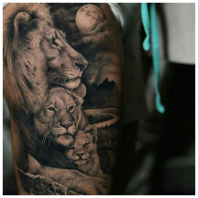 Лев защищает свою семью - тату мужчине