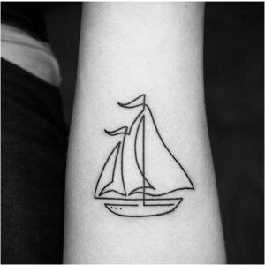 Кораблик, набитый одной линией