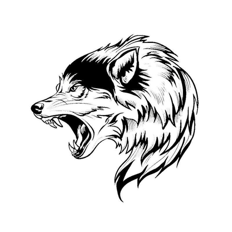 Волк - эскиз для тату