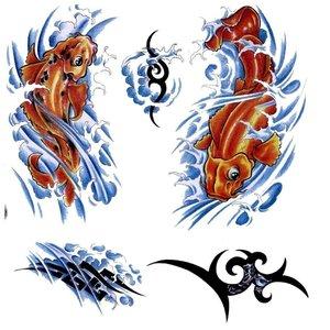 Эскизы цветных тату с рыбами
