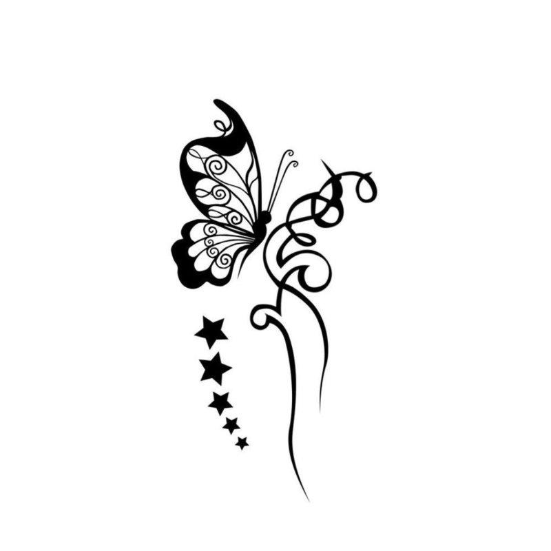 """Эскиз тату """"Бабочка и цветок"""""""