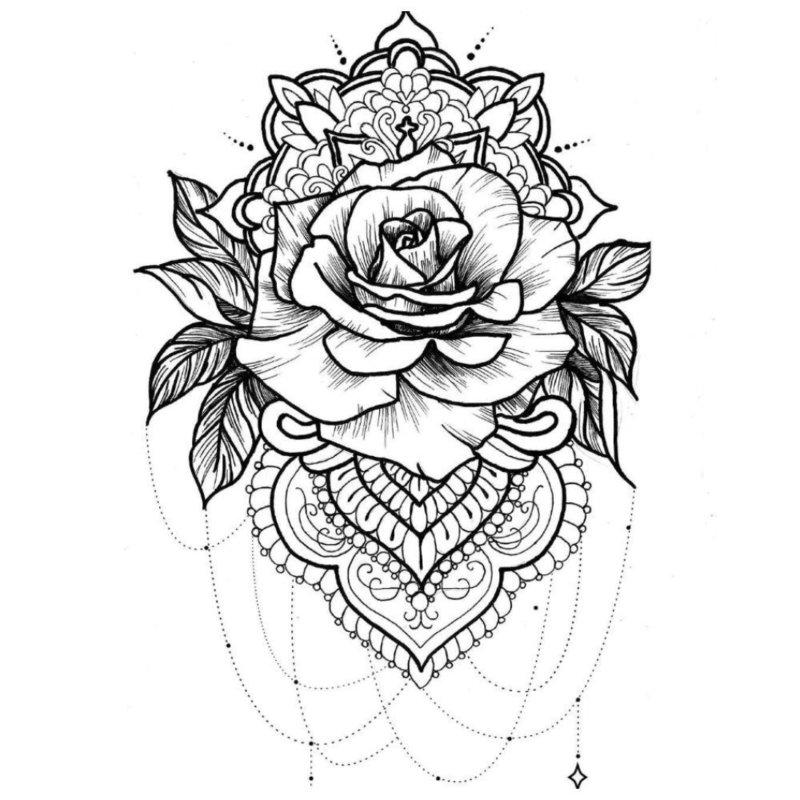 Черно-белый эскиз розы в этно-стиле