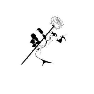 Эскиз тату розы и женщины