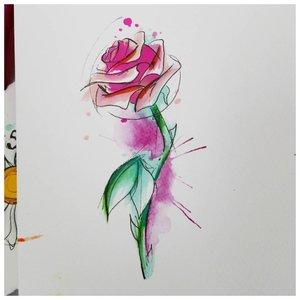 Акварельный эскиз розы для тату