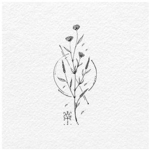 Эскиз тату цветка в стиле минимализм