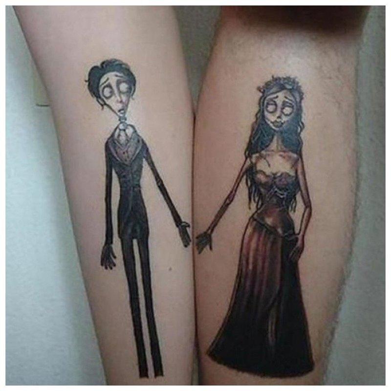 Парное тату на руках у влюбленных