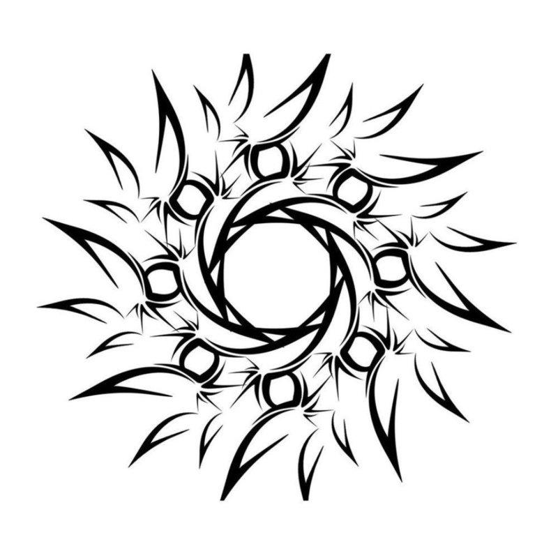 Эскиз тату - абстрактное солнце