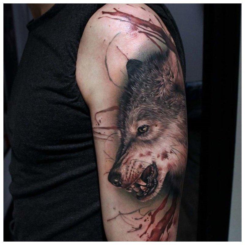 Окровавленный волк - тату на плече