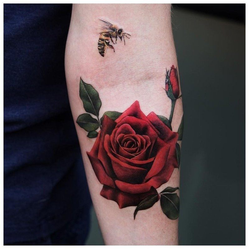 Крупная роза - тату на руке