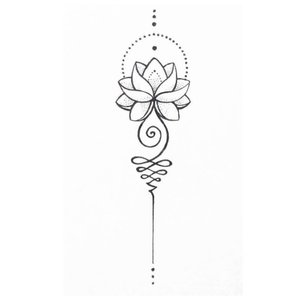 Эскиз мини-тату мандала с лотосом