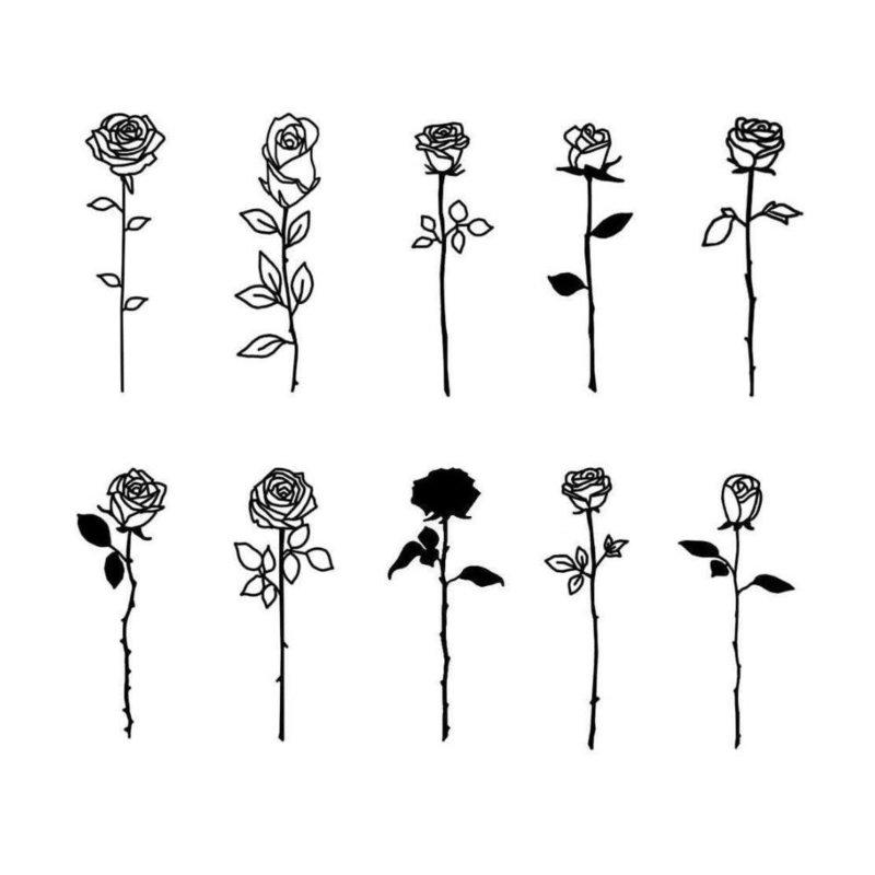 Розы - эскизы для тату