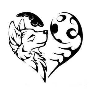 Сердечко и волчонок - эскиз для тату