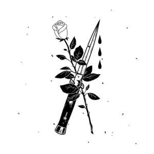 Роза и нож - эскиз для тату