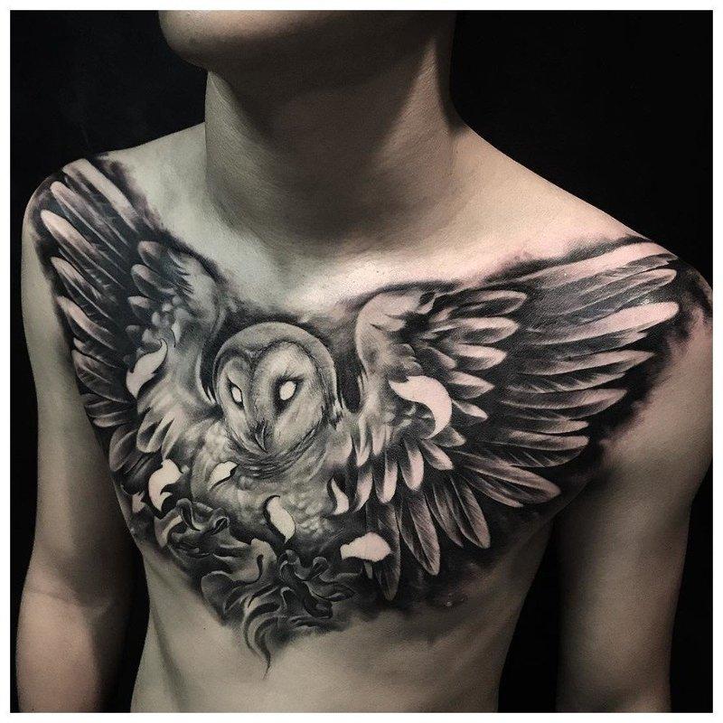 Размах крыльев птицы - тату мужчине на грудь