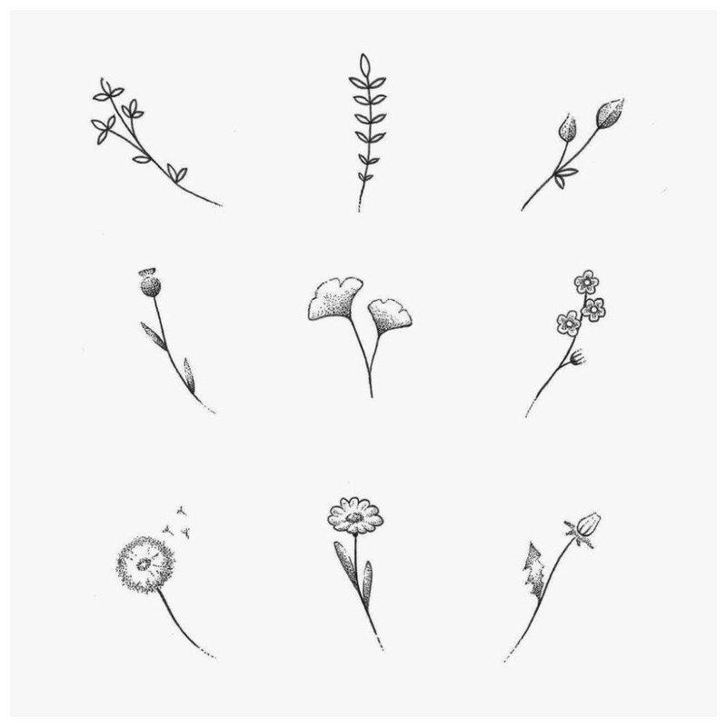 Нежные цветы - эскиз для тату