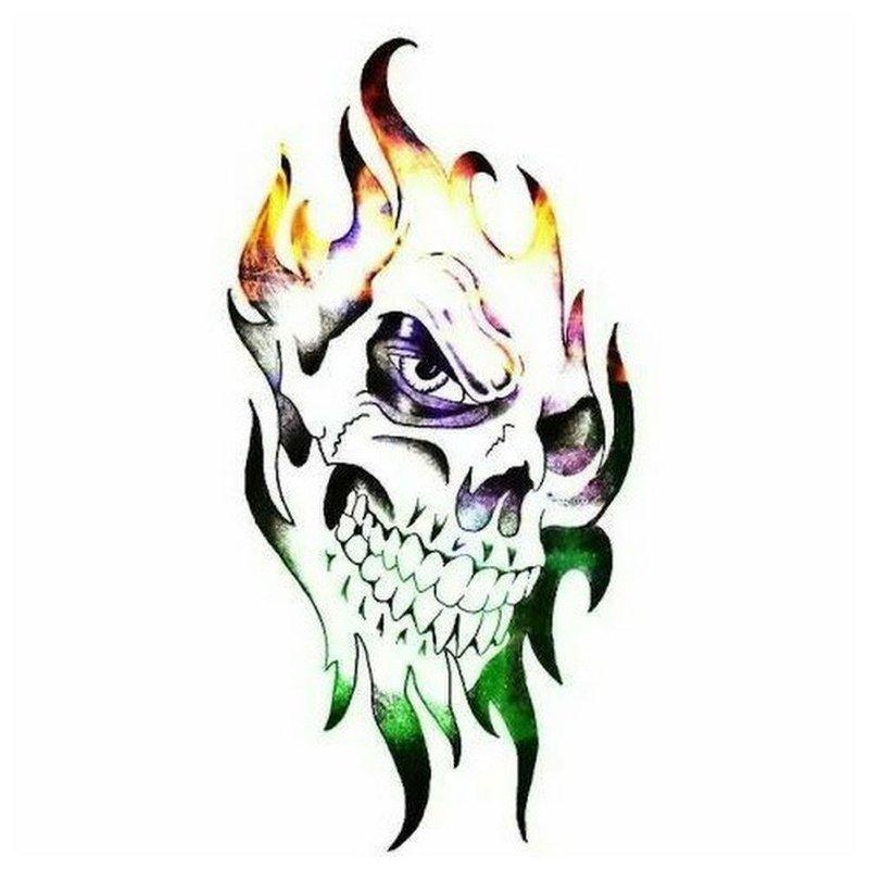Красочный череп - эскиз для тату