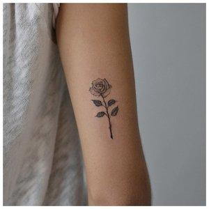 Маленькие цветок розы на руке у девушки