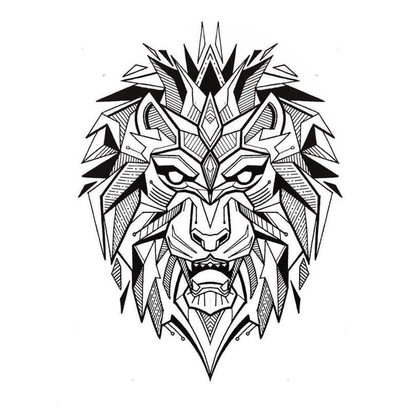 Свирепый лев - эскиз тату